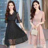 中大尺碼蕾絲洋裝 連身裙夏季2019新款修身顯瘦高腰a字裙短袖仙女裙子 nm21461【VIKI菈菈】