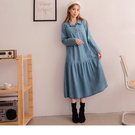 《DA7060-》高含棉半開襟排釦荷葉裙...