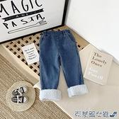 兒童牛仔褲 女童加絨秋冬季童裝韓版兒童外穿寬鬆牛仔褲加厚寶寶洋氣保暖長褲 快速出貨
