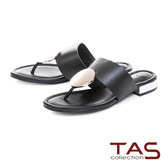 TAS 圓形飾扣寬帶夾腳拖鞋-實搭黑
