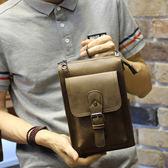 男多用側斜背小包 穿皮帶腰包《印象精品》y365