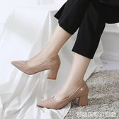 夏季新款韓版百搭網紅粗跟尖頭高跟鞋淺口漆皮上班單鞋女中跟  居家物語