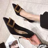 高跟鞋女細跟2019春季新款歐洲站網紅鞋子少女黑色百搭尖頭單鞋潮 快意購物網