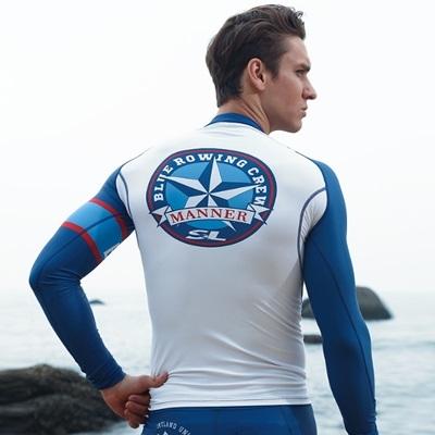 潛水衣 長袖套裝-防曬速乾水上活動男水母衣2款73mf9[時尚巴黎]