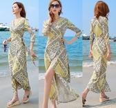 沙灘裙 馬爾代夫沙灘裙女海邊度假超仙海南三亞夏季顯瘦波西米亞連衣長裙 解憂