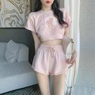 時尚減齡套裝女夏季新款學生ins寬鬆洋氣粉色休閒運動短褲兩件套
