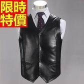 男真皮背心時髦質感-真綿羊皮V領設計加厚雙面反穿潮流男裝65t16【巴黎精品】
