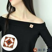 方塊花朵胸針女網美新款復古別針固定衣服胸花裝飾【淘夢屋】