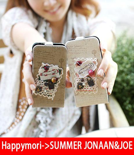 【韓國原裝 Happymori】※Mori girl's promise※直掀式手機皮套適用iphone4s/4 Galaxy S2 i9100