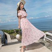 夏裝露肩圓領波浪邊連身裙印花修身大擺沙灘裙2008#GT6F-653-A紅粉佳人