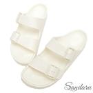 防水鞋 雨鞋 親膚舒適輕量雙扣拖鞋-白