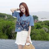 T恤-亮片t恤女新款夏韓版時尚假兩件吊帶拼接寬松短袖上衣體恤-薇格嚴選