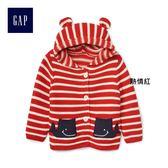 Gap男女嬰兒 舒適條紋鯨魚圖案開襟長袖連帽衫 230078-熱情紅