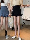 魚尾裙 春2021新款韓版不規則荷葉邊魚尾短裙女高腰A字半身裙包臀裙子【快速出貨八折搶購】