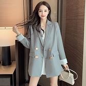 西裝外套女 韓版職場春款設計感小眾韓版休閒百搭雙排扣小西服西裝外套女9801#T314-E紅粉佳人