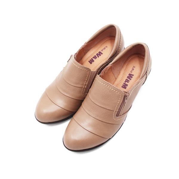 【南紡購物中心】W&M(女)素面典雅粗跟厚底中跟鞋 女鞋-卡其(另有黑)