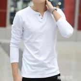 男士長袖T恤潮流男裝V領體桖純色純棉秋衣打底衫潮牌秋季白上衣服『潮流世家』