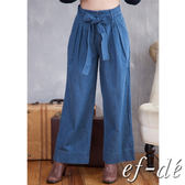 【ef-de】激安 腰綁帶純棉長牛仔褲(深藍/淺藍)