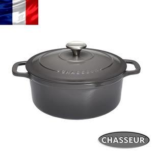 法國【CHASSEUR】獵人黑琺瑯鑄鐵彩鍋24cm(雲霧灰)