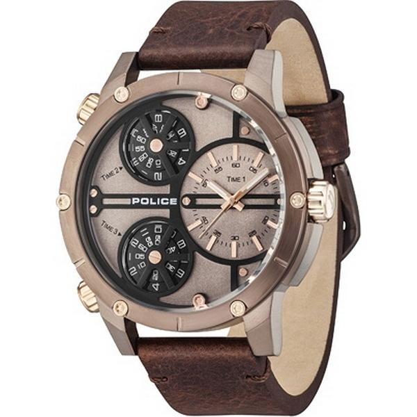 【台南 時代鐘錶 POLICE】義式潮流 數學幾何風格 三時區三眼時尚腕錶 14699JSBN-12 皮帶 古銅 50mm