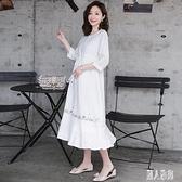 孕婦裝洋裝棉質春夏季2020新款時尚韓版寬鬆刺繡短袖連身裙長款不顯懷 LR20888『麗人雅苑』