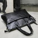 電腦側背斜背包公文韓版商務皮手提包男士潮流休閒簡約橫款 黛尼時尚精品