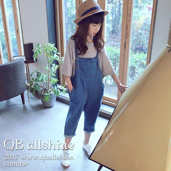 女童吊帶褲 韓版個性休閒口袋飛鼠牛仔連身長褲 QB allshine