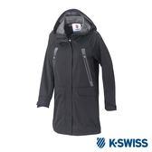 K-Swiss Long Jacket女長版連帽外套-女-黑