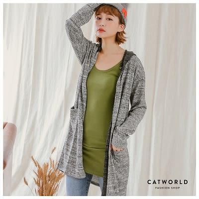 Catworld 正韓空運*雙色拼接開襟連帽針織外套【15003520】‧F
