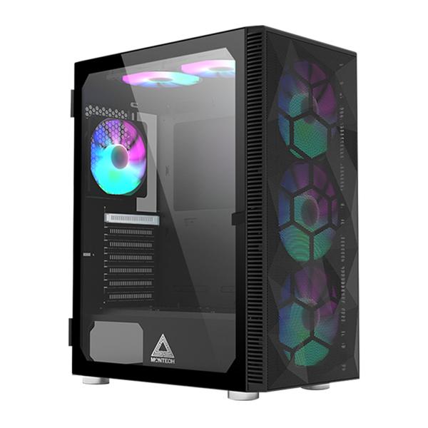 Montech 君主 X3 MESH ATX 內含6顆 RGB機殼風扇 玻璃透側 黑色 機殼