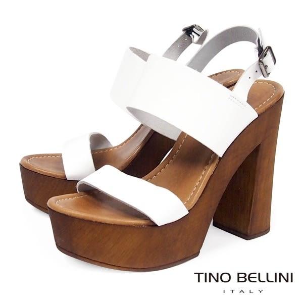 Tino Bellini 義大利進口70狂潮摩登粗跟涼鞋  白 A63081 2016SS 歐洲進口款
