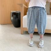 棉小班童裝男童夏裝褲子新款韓版薄款洋氣七分褲牛仔短褲 海角七號