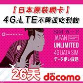 【日本原裝】26天 日本原生網卡 4G上網吃到飽 不降速 日本上網 網路卡吃到飽 docomo線路