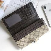 潮流堂  復古雙折單扣長夾可放6吋手機有拉鍊式零錢袋