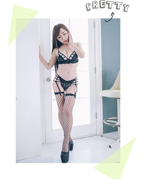 情趣內衣褲 黑色蕾絲內衣丁字褲吊襪帶含蕾絲網襪~流行E線A7086