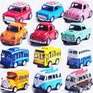Q版合金聲光回力汽車模型仿真迷你巴士兒童玩具小汽車車模