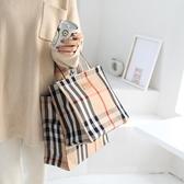 帶拉鏈防水面料手拎包補習袋大容量便當袋手提包【極簡生活】