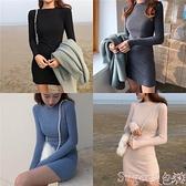 針織洋裝 針織打底長袖連身裙女秋冬新款內搭收腰修身顯瘦裙子氣質包臀短裙  新品