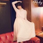 洋裝 珍珠滾邊拼接絨毛蕾絲長袖長洋裝-Ruby s 露比午茶