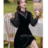 優雅黑色絲絨拼接網紗袖法式浪漫短洋裝[99273-QF]小三衣藏