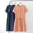 棉麻 素色顯瘦雙口袋洋裝-大尺碼 獨具衣格 J2628