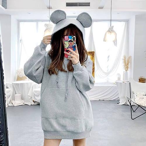 克妹Ke-Mei【AT49658】獨家自訂,歐美單!熊熊耳朵連帽T字口袋洋裝