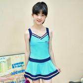 兒童泳衣女孩連體裙式中大童大碼平角褲泳裝