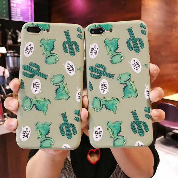 【SZ51】卡通恐龍仙人掌軟殼 iphone XS max手機殼 iphone 8 plus手機殼 iphone xr手機殼 iphone xs手機殼