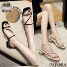 PAPORA流線款粗跟休閒拖鞋涼鞋KS4156黑/米