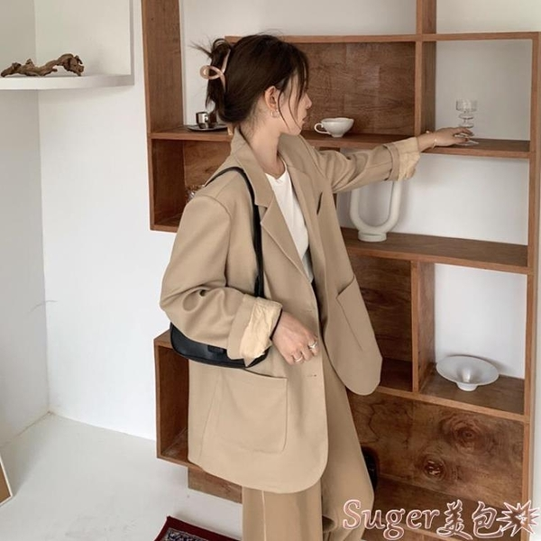 西裝外套 網紅炸街小西裝外套女春秋韓版寬鬆設計感小眾高級感港風休閒西服 suger