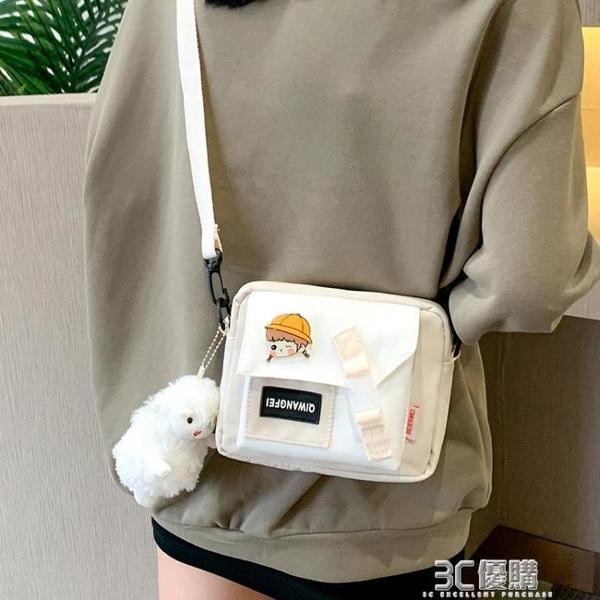 日系單肩包斜挎小包包女小眾設計2021新款百搭學生ins帆布小挎包 3C優購