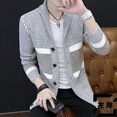 針織外套男士春秋季線衫開衫針織衫v領線衣【左岸男裝】