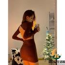 內搭針織打底連身裙女春秋性感露背長袖裙子收腰包臀短裙【創世紀生活館】