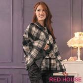 RED HOUSE-蕾赫斯-格紋斗篷外套(黑色)